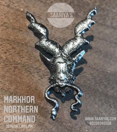 Markhor Northern Command 3d Metal Lapel Pin ! 2050 | Whatsapp 03338345558 Guarding the Frontiers ! Markhor is the national animal of Pakistan. 'Unverified legends' from centuries reveal that Markhor defends from bad,evil omen.It was Famous to Hunt down Snakes and Kill them by biting the head off , and this is how it got its name : Mar - Snake , Khor - Eater. Himalayan ancient Tribes used to Keep Markhors in their camps to protect from poisonous snakes.The legendary Goat is still found in No Poisonous Snakes, National Animal, Himalayan, Camps, Pin Badges, Lapel Pins, Goat, Pakistan, Legends