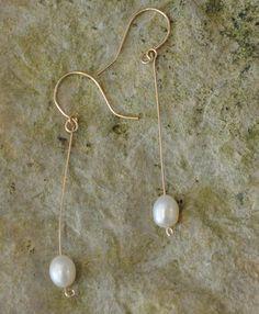 Pearl Drop earrings  Elegant Gold  Earrings Dangle by JunrylGems, $16.00