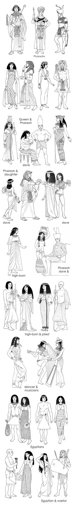 Pharaoh, queen, slave dress cides in Ancient Egypt Egyptian Mythology, Ancient Egyptian Art, Ancient History, Ancient Egypt Clothing, Ancient Egypt Fashion, Egyptian Pharaohs, Ancient Aliens, Clothes Draw, Egyptian Fashion