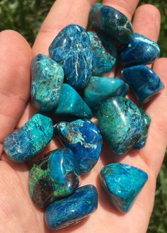 """Chrysocolla Tumbled Stone (Extra Quality) Listing is for (1) Chrysocolla tumbled stone Extra Quality Sizes: 0.5"""" - 1"""" Metaphysical Properties: Chrysocolla is a peaceful, soothing crystal that brings c"""