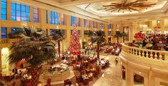 The Manila Peninsula Hotel lobby at Christmas time.