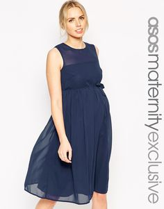 Image 1 of ASOS Maternity Chiffon Skater Dress With Bow Detail