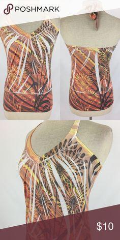 Halter top SKU: SD4274  Length Shoulder To Hem: 24 Bust: 25 Waist: 30 Fabric Content: 65% polyester, 35% rayon POP Tops Tank Tops