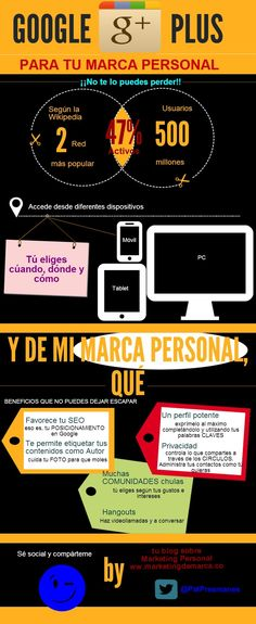 Google + para tu marca personal #infografia #infographic #marketing #socialmedia