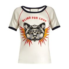 Gucci Blind for Love-print cotton-jersey T-shirt (€915) ❤ liked on Polyvore featuring tops, t-shirts, white multi, print t shirts, slim fit white t shirt, cotton jersey, embroidered top and print tees