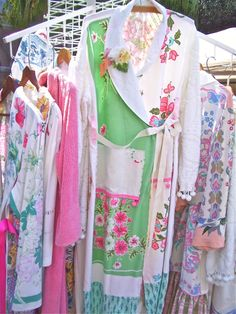 robes made from vintage tablecloths and chenille bedspreads...so sweet!