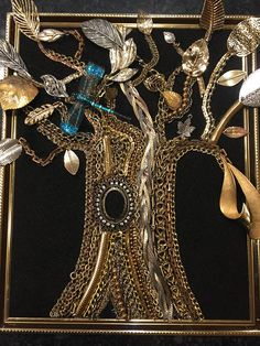 This is a 100 percent handmade recycled jewelry art tree. First I glue black felt on cardboard backing and then I securely glue the jewelry on the fabric. The jewelry ranges from contemporary to vintage. I used leaves and chains from necklaces, bracelets, earrings, and brooches.