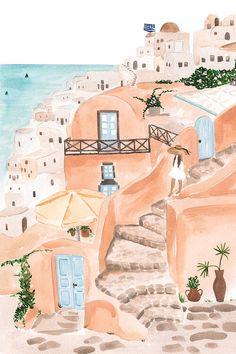 Santorini Art Print by Sabina Fenn Canvas Wall Art, Canvas Prints, Art Prints, Santorini, Guache, Travel Illustration, Wow Art, Aesthetic Art, Art Inspo