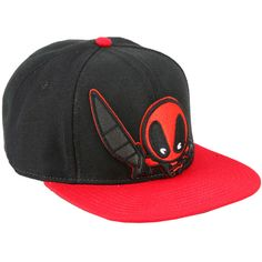 Marvel Deadpool Chibi Snapback Hat ($10) ❤ liked on Polyvore featuring accessories, hats, multi, red snapback, embroidered hats, snapback hats, embroidery hats and embroidered snapbacks