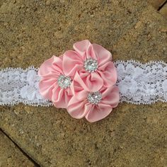 Baby girl headband, newborn headband, toddler headband, photo prop, pink satin cluster flower trio and white lace headband