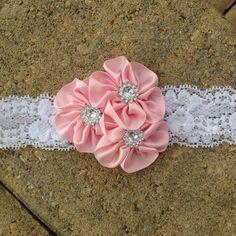 Baby girl headband, newborn headband, toddler headband, photo prop, pink satin cluster flower trio and white lace headband