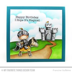 Handmade card from Francine Vuillème featuring Knight in Shining Armor stamp set and Die-namics #mftstamps