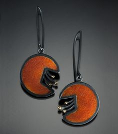 """Marcia Meyers: , Red cloisonne sugar fired enamel earrings with oxidized sterling silver. Approx. 2"""" in length."""