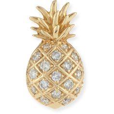 Sydney Evan Pav& Diamond Pineapple Single Stud Earring ($440) ❤ liked on Polyvore featuring jewelry, earrings, jewelry earrings stud, yellow gold, 14 karat gold stud earrings, diamond post earrings, pineapple jewelry, diamond jewelry and 14k earrings
