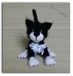 Cat black-white OOAK Stuffed Animals Crochet Handmade Soft by Tjan