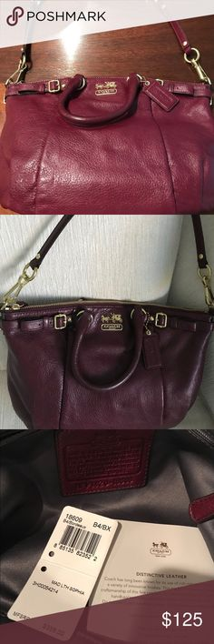 Coach leather bag in a beautiful plum color. This bag has never been used! It has a removable shoulder strap & it is a great size. Coach Bags Shoulder Bags