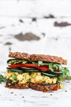 Smashed Chickpea, Avocado and Pineapple Salad Sandwiches with Sriracha Honey Mustard | www.floatingkitchen.net