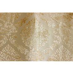 Light Gold N Ivory Damask Fabric Upholstery Fabric by FabricMart, $10.50