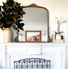 "163 Likes, 16 Comments - Mary Ann Pickett (@classiccasualhome) on Instagram: ""Got some magnolia branches for the mantel yesterday. They are in a vintage French jar"""