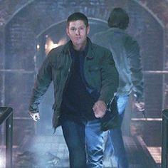 [gif] Jensen Ackles, runway model.  So fierce!     (The French Mistake, gag reel)