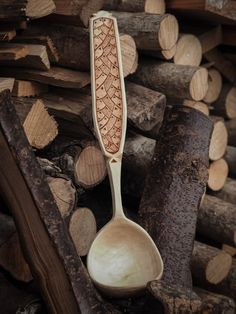 decorated sycamore ladle
