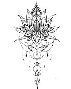 Cute Tattoos For Women Mandala Tattoo Design, Simple Mandala Tattoo, Lotus Mandala Tattoo, Flower Tattoo Designs, Flower Tattoos, Lotus Mandala Design, Mandala Tattoo Meaning, Mini Tattoos, Leg Tattoos