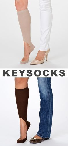 Keysocks If you like to wear flats or heels in the winter, these no-show socks were made for you. They keep you warmer than footies without slipping off in the back so you can wear them to stay warm and comfortable with your favorite pair of shoes.