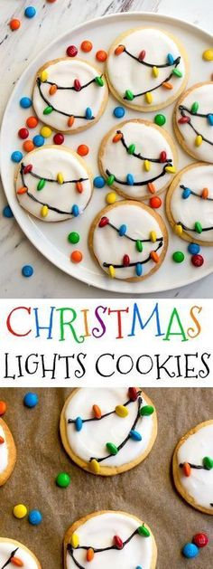 Christmas Lights Cookies for Santa! Easy royal icing recipe and mini M&Ms look l., Desserts, Christmas Lights Cookies for Santa! Easy royal icing recipe and mini M&Ms look like Christmas lights on cookies! Easy Christmas cookies to decorate wi. Holiday Treats, Holiday Recipes, Easy Christmas Recipes, Cute Christmas Desserts, Food For Christmas, Christmas Pasta, Xmas Food, Christmas Desserts For Kids To Make, Homemade Christmas Treats