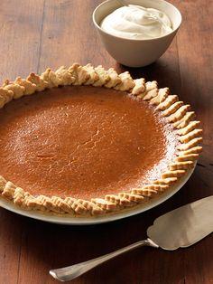 Pumpkin Pie With Creme Fraiche Whipped Cream   - Delish.com