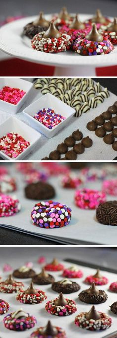 Chocolate Valentine Kiss Cookies | Homemade Valentines Day Cookies for Kids to Make