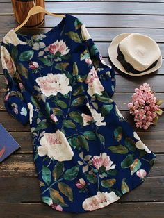 2019 New Women Loose Floral Print Dress Ladies Mini Dress Summer Casual Party Dresses Long Sleeve Dress Plus Size Maxi Dress With Sleeves, The Dress, Dress Long, Dress Skirt, Plus Size Blouses, Plus Size Dresses, Mini Dresses, Floral Dresses, Women's Blouses