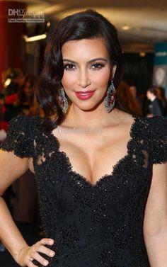 Kim Kardashian Mermaid Black Lace Celebrity Dresses Evening Dress Cap  Sleeve V Neck 2012 Golden Globes Party Gown And Dresses Black And White  Evening ... 30b3c177204b