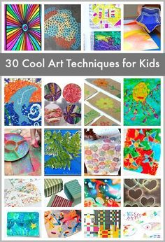 Must-Try Art Projects! (30 Super Cool Art Techniques for Kids)~ There are some really great ideas here for our students with special learning needs and fine motor challenges.  Read more at:  http://buggyandbuddy.com/super-cool-art-techniques-kids/
