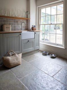 Farmhouse style kitchen. Jaipur Brushed Limestone floor