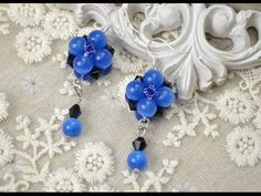 PandaHall Jewelry Making Tutorial Video--Bead Earrings with Blue Cat Eye Glass Beads and Crystals - YouTube