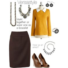 """""""Mialisia Versastyle"""" by tammy-inman-brown on Polyvore What's awesome is that the three necklaces can be worn together as a layered look, or worn separately as a necklace, bracelet and anklet."""