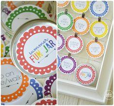 Summer Fun Jar Printables: fun activities for the kids this summer Summer Activities For Kids, Summer Kids, Fun Activities, Crafts For Kids, Activity Ideas, Craft Ideas, Paper Crafts, Diy Crafts, Jar Gifts