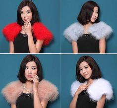 LIYAFUR New Women's Real Genuine Soft Ostrich Fur Small Wedding Cape poncho stole shawl Pashmina