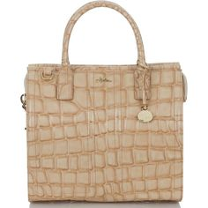 Brahmin Atelier Chatham Tote Bamboo Chatham ($695) ❤ liked on Polyvore featuring bags, handbags, tote bags, purses, genuine leather tote, structured tote, leather man bag, beige leather tote and leather tote bags