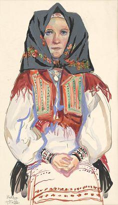 Jaroslav Vodrážka - Heľpa - Štúdia ženy (1938) Stredoslovenská galéria Storybook Characters, Fictional Characters, Heart Of Europe, The Older I Get, Folk Costume, Folklore, Old Things, Princess Zelda, The Shining