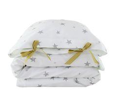 ORGANIC Toddler Bedding set  Stars  grey by ColetteBream on Etsy, $139.00