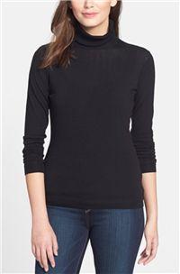 Lafayette 148 New York - Fine Gauge Turtleneck: A thinner merino wool black classic turtleneck sweater is a staple for any winter work wardrobe.