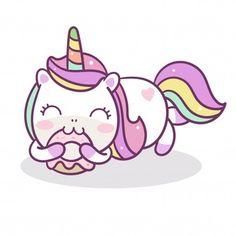 Dibujados a mano kawaii personajes unicornio comen donut