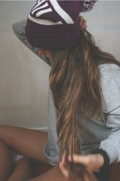 Long hair don't care follow for more tumblr girl hipster indie beanie