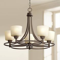 Whitfield Oil Rubbed Bronze Chandelier Wide Glass Shades Fixture for Dining Room House Foyer Kitchen Island Entryway Bedroom Living Room - Regency Hill Dinning Room Light Fixture, Dining Room Lighting, Light Fixtures, Kitchen Lighting, Bronze Chandelier, 5 Light Chandelier, Chandeliers, Chandelier Ideas, White Pendant Light