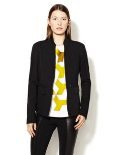 Wool Leather Piped Jacket by Narciso Rodriguez