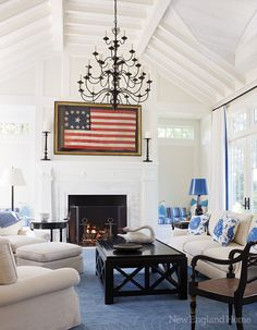 The graphic appeal of an antique American flag defines the family room's classic personality.