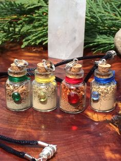 Mini Four Elements Spell Bottle Talisman Charms Necklace Set Earth Air Fire Water Wiccan Pagan Altar Witch Reiki Energy