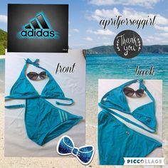 {ADIDAS}--turquoise bikini  WOMANS size 16wrap around neck ( ties) snap back topbikini stile bottom with adidas strips in baby bluehas adidas on right top breast partand silver striped plate on the butt I  ordered this online, wore it one time! Too small for me...hey ...I TRIED!! free gift with purchase and I ship same day...TY Adidas Swim Bikinis