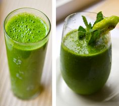 Vegan green smoothie and kiwi pineapple mint smoothie - two perfect drinks! Mint Smoothie, Green Smoothie Recipes, Smoothie Drinks, Fruit Smoothies, Healthy Smoothies, Healthy Drinks, Superfood Smoothies, Green Superfood, Pineapple Mint